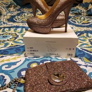 Gorgeous multicolored glitter heels and clutch